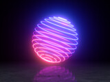 Fototapeta Perspektywa 3d - Bright neon ball made of circles