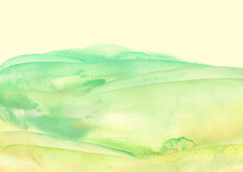 Watercolor Green, Blue Background, Blot, Blob, Splash Of Green Paint. Watercolor Field, Meadow, Spot, Abstraction. Wild Grass, Bushes, Country Abstract Landscape. Watercolor Card, Banner.splashing