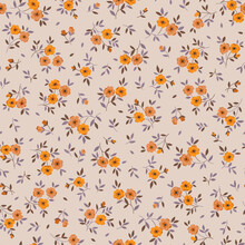 Vintage Floral Background. Floral Pattern With Small Yellow Flowers On A Ivory Background. Seamless Pattern For Design And Fashion Prints. Ditsy Style. Stock Vector Illustration.