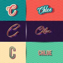 Name Chloe In Various Retro Graphic Design Elements, Set Of Vector Retro Typography Graphic Design Illustration