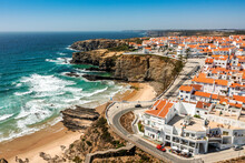Aerial View Of Zambujeira Do Mar - Charming Town On Cliffs By The Atlantic Ocean In Portugal
