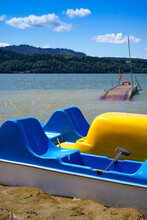 Pedal Boat And Wooden Pier On The Czorsztyn Lake In Poland
