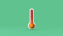 Weather Thermometer Showing Climate Change Rising Temperature Levels. 3D Render
