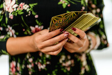 Editorial Use Only; Girl Holding A Deck Of Divination Cards, Tarot In Her Hands, Chelyabinsk, Russia - September 16, 2020