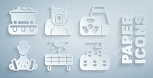 Set Solar Energy Panel, Nuclear Power Plant, High Human Body Temperature, Deforestation, Polar Bear Head And Coal Train Wagon Icon. Vector
