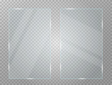 Set Of Two  Glass Plates In Rectangular Frame Isolated On Transparent Background. Vector Illustration.