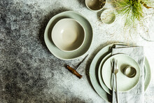 Minimalistic Summer Table Setting On Concrete Background