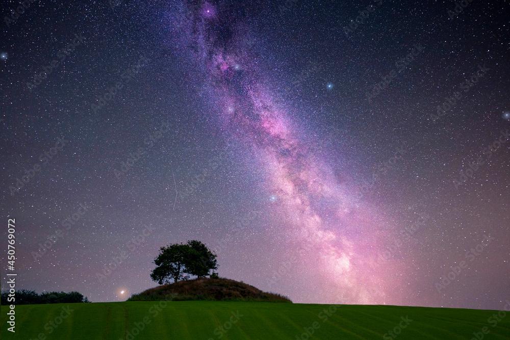 Night landscape, milkyway galaxy