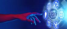 Digital Transformation, Digitalization Horizontal Banner Concept, AI Technology, Hand Touching Binary Code Inscription