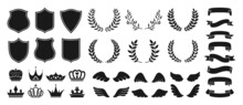 Heraldry Vintage Badge Icon Set. Blazon Different Crown Shield, Ribbon, Wing And Laurel Wreath For Coat Of Arms. Various Decorative Royal Knight Shields Or Emblems Vector