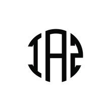IAZ Letter Logo Design. IAZ Modern Letter Logo With Black Background. IAZ Creative  Letter Logo. Simple And Modern Letter IAZ Logo Template, IAZ Circle Letter Logo Design With Circle Shape. IAZ