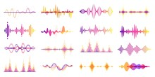 Colorful Sound Waves, Audio Frequency Graph, Voice Wave. Abstract Soundwave, Futuristic Radio Signal Frequency, Studio Equalizer Vector Set. Player With Dynamic Soundtrack Bars With Curves