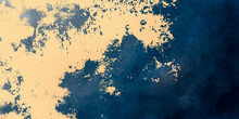 Abstract Paint Background By Deep Blue Liquid Fluid And Gold Grunge Texture In Luxury Concept.