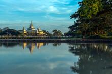 Myanmar (formerly Burma). Kayin State (Karen State). Hpa Han. Kyauk Kalap Or Kyaik Ka Lat Monastery At Dusk