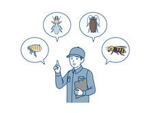 害虫について説明する害虫駆除業者の男性 イラスト素材