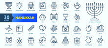 Hanukkah, Jewish Festival - Thin Line Web Icon Set. Outline Icons Collection. Simple Vector Illustration.