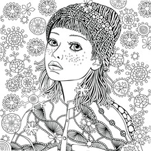 Girl In A Knitted Cap. Pattern For Coloring Book. Winter Snowflakes.  Warm Clothes. Hand-drawn Vector Illustration. Zentangle Patterns.