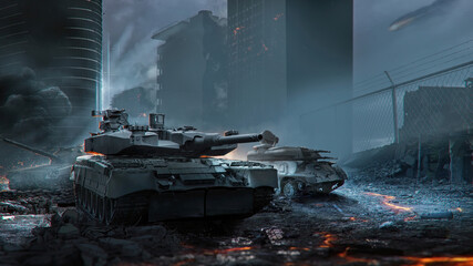 Tanks among the destroyed city. 3D Rendering