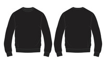 Regular Fit Long Sleeve With Pocket Cotton Fleece Hoodie Technical Fashion Sketch Vector Illustration. Flat Outwear Jumper Apparel Template Front And Back View. Women, Men Unisex Sweatshirt Top CAD.