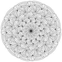 Abstract Mandala With Ornate Petals And Dots, Meditative Coloring Page