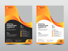Corporate Business Flyer Template Design Set With Two Color Venetian, Shape Flyer Circle Abstract Colorful Concepts, Marketing, Business Proposal, Promotion, Advertise, Publication, Cover Page,