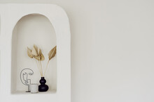 Wall Decor At Interior Design, White Arch Niche.