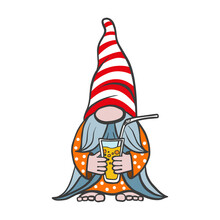 Vector Illustration Of A Summer Gnome, An Elf In A Cap With A Glass In His Hand, Isolated On White