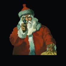 Aim Scary Santa Gun Owner Funny Christmas Art Vector Design Illustration Print Poster Wall Art Canvas