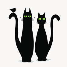 Two Cute Black Cats And Bird Vector Design Vector Illustration Print Poster Wall Art Canvas
