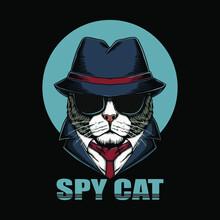 Spy Cat Head Vector Illustration Vector Design Vector Illustration Print Poster Wall Art Canvas