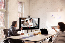 Business Team In The Conference Room Open Video Conference