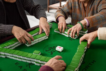 Happy Old People Playing Mahjong