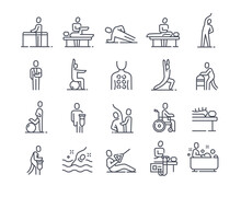 Set Of Linear Essential Icons Of Physiotherapy On White Background. Concept Of Massotherapy And Acupuncture, Exercise, Rehabilitation. Healthcare And Medicine. Flat Cartoon Vector Illustration