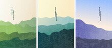 Vector Illustration. Minimalist Landscape. Abstract Posters Set. Contemporary Backgrounds. Mid Century Wall Decor. Design Elements For Poster, Postcard,  Book Cover, Magazine, Business Or Gift Card