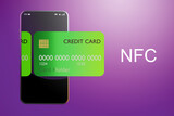 Fototapeta Kawa jest smaczna - Application for NFC payment in phone. Pass NFC pay. Near field communication for payment. NFC payment technology. Credit card in smartphone screen. Telephone on violet background. 3d image