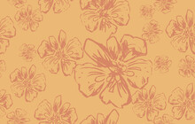 Pattern With Brown Flowers Seamless Vector, Simple Raster Geometric Seamless Pattern. Floral Shapes, Net, Mesh, Lattice. Elegant Vintage Ornamental Background. Repeat Design For Textile