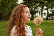 Cute Girl With Beautiful Red Hair Blowing Large Dandelion In Park. Allergy Free Concept