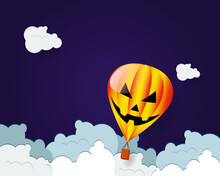 Hot Air Balloon Halloween Horror Face Flying Over Cloud