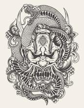 Illustration Oni Mask With Snake Monochrome Style