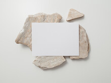Invitation Card Mockup, Blank Greeting Card Template. Flat Lay, Minimalist Style.