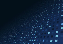 Abstract Technology Digital Data Blue Square Pixel Pattern Perspective Background