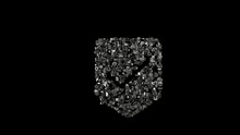 3d Rendering Mechanical Parts In Shape Of Symbol Of Been Here Marker Isolated On Black Background