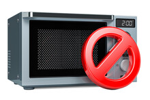 Prohibition Symbol With Microwave Oven. 3D Rendering