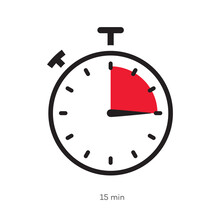 Timer 15 Minutes Symbol Color Style Isolated On White Background. Clock, Stopwatch, Cooking Time Label. Vector 10 Eps