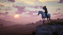 Silhouette Of A Person On A Mountain. Outlaw On A Horse. Looking Through Binoculars.