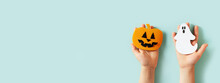 Kids Halloween Handmade Paper Pumpkins With Childrens Hands