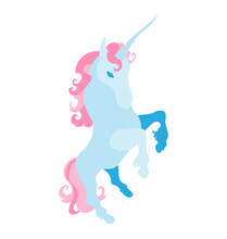 Prancing Unicorn - Pastel Colors - Flat Vector Isolated