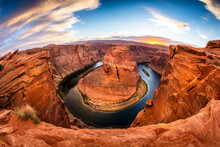 An Evening Sunset Shot Of Horseshoe Bend -- A Horseshoe Shaped Canyon High Above The Colorado River Near Lake Powell And The Grand Canyon.