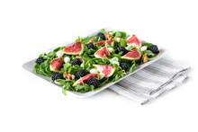 Figs, Blackberries, Arugula, Mozzarella And Walnuts Salad. Shot With Great Depth Of Field.