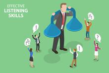 3D Isometric Flat Vector Conceptual Illustration Of Effective Listening Skills, Customer Feedback Strategy